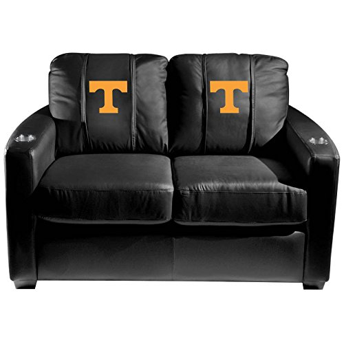 XZipit College Silver Loveseat with Tennessee Volunteers Logo Panel, Black