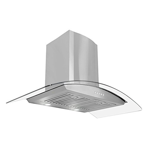 (Cosmo 668A900 36-in Wall-Mount Range-Hood 760-CFM | Ducted/Ductless Convertible Duct, Glass Chimney Kitchen Stove Vent with LED Light, 3 Speed Exhaust Fan, Permanent Filter (Stainless Steel) )