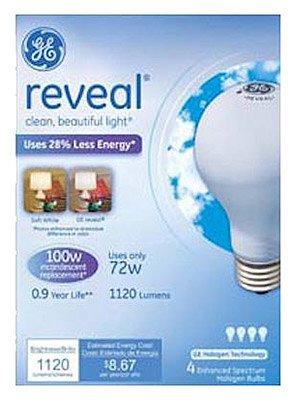 GE Lighting 72W Soft White Reveal A Line Halogen Bulb; 4 (Reveal Halogen Bulb)
