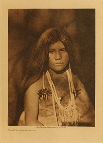 Coast Pomo Bridal Costume Native American Indian Photo Photogrpah 8 x 10 Sepia Tone From The 1800 Old West ()