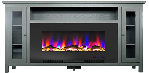Cambridge Somerset 70-in. Gray TV Stand with Multi-Color LED Flames, Driftwood Log Display, and Remote Control, CAM6938-2GRY Electric Fireplace