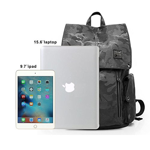 Laptop Outdoor Backpack, Travel Hiking& Camping Waterproof Pack with Bluetooth Anti-Loss Device, Casual Large College School Daypack, Shoulder Book Bags Back Fits 15'' Laptop & Tablets (Black Camo) by HiOrange (Image #6)