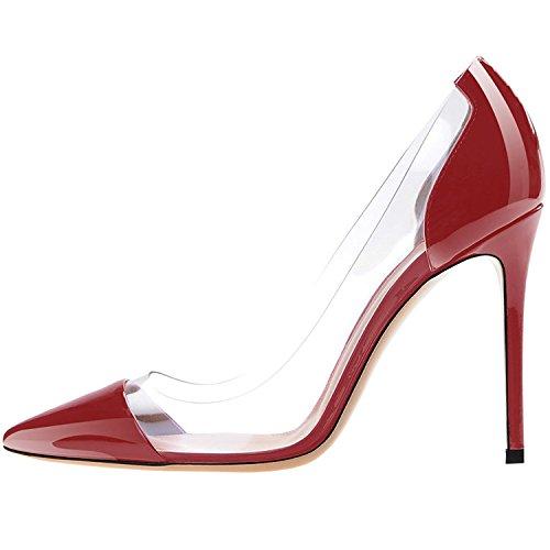 Lovirs Mujeres Sexy Tacón Alto Puntiagudo Slip En Las Bombas De Tacón De Aguja Zapatos De Vestir Del Banquete De Boda Wine Red Patent