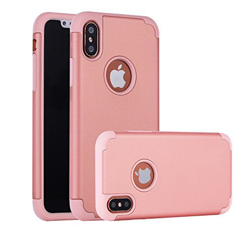 iBarbe iPhone X Case,iPhone 10 Case, Slim Fit TPU rubber Bumper Hybrid + Scratch Resistant Hard Back Panel thin silicone protective card Cover phone holder for Apple iPhone X/10 Phone 2017-rosegold ()