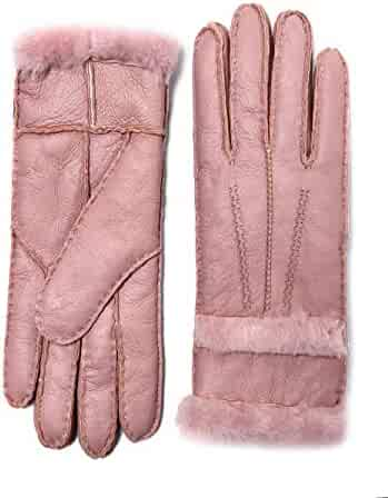 0170aa1e5 YISEVEN Women's Rugged Sheepskin Shearling Leather Gloves Fur Cuffs