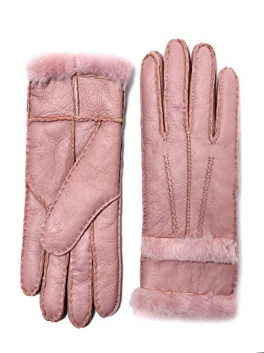 YISEVEN Women's Sheepskin Shearling Leather Gloves Three Points Soft Furry Mittens Sherpa Fur Cuff Thick Wool Lined and Heated Warm for Winter Cold Weather Dress Driving Work Xmas Gifts, Quartz Pink M
