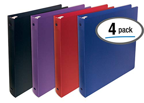 Better Office Products, 3 Ring Poly Binder with Pocket, 1 inch, Letter Size, 4 Pack-Red, Blue, Purple, and - Inch 3 Binder Ring 1