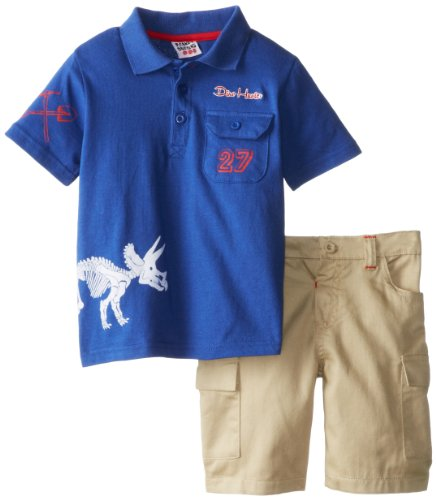Peanut Buttons Boys 2-7 4-7 Polo Set with Dinosaur Top, Navy, 5