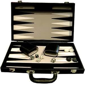 Backgammon imitción cuero negro terciopelo negro, gris y blanco (38 x 23 cm plegado)