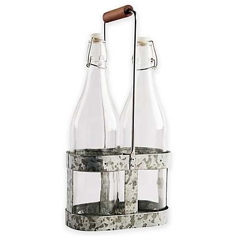 Heritage Home 3-Piece Galvanized Metal and Copper Bottle Caddy Set