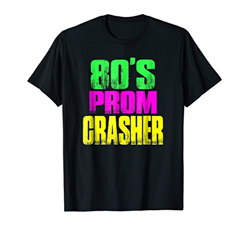Mens 80's Prom Party Crasher Neon Funny Prom Shirt Theme Party 2XL Black ()