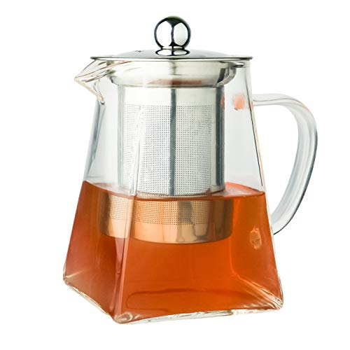 Galashield Tea Kettle Glass Teapot with Stainless Steel Removable Infuser and Lid, Stovetop Safe Tea Maker, Blooming and Loose Leaf Tea Infuser 700 ml
