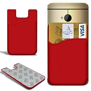 N4U Online - Samsung Galaxy Mini i8190 S4 delgado de silicona del palillo en tarjeta de crédito / débito caso de la cubierta de la ranura - rojo