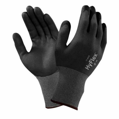 Ansell HyFlex 11-840 Nylon Light Duty Multi-Purpose Glove with Knitwrist, Abrasion/Cut Resistant, 1.21 mil Thickness, Size 7, Gray (Pack of 12 Pair) by Ansell