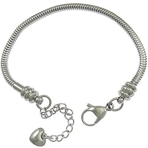 Stainless Steel Starter Charm Bracelet Lobster Claw Fits Pandora Charms (7.5 inch) -