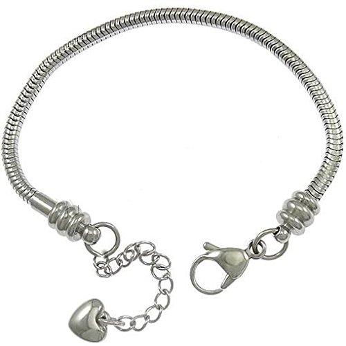 Starter Charm Bracelet: Stainless Steel Starter Charm Bracelet For Kids Fits
