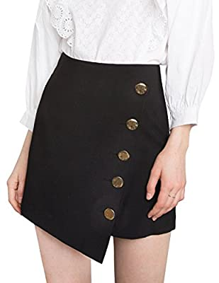 HaoDuoYi Womens Asymmetrical Single Button Bodycon Mini Skirts