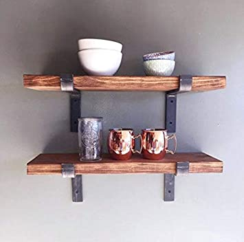 Amazon Com New England Wood Crafters Rustic Wall Shelves With Metal