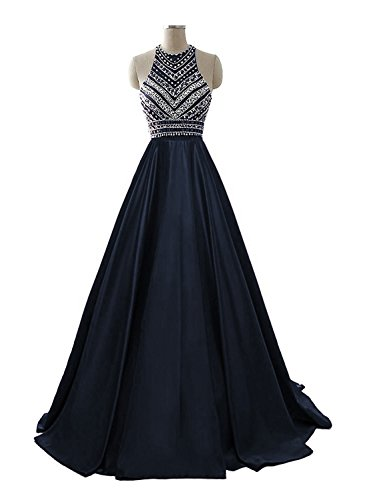 HEIMO Women's 2017 Sequins Evening Party Gowns Beading Formal Prom Dresses Long H187 8 Navy