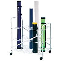 Rolling White Wire File Cart - Holds 24 Vertical Tubes