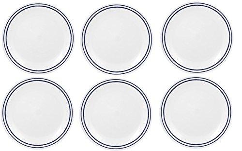 Corelle Livingware 6-Piece Bread and Butter Plate Set, Breathtaking Blue Beads (Corelle Blue Set compare prices)