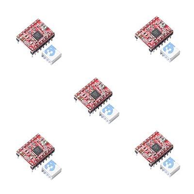 5pcs A4988 Stepper Motor Driver pololu StepStick Module Board Red with Aluminum Heat Sink fit ramps 1.4 3D Printer Reprap, CNC Machine or Robotics