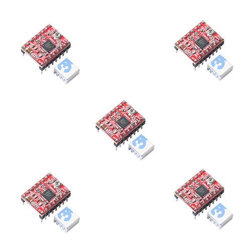 - 5pcs A4988 Stepper Motor Driver pololu StepStick Module Board Red with Aluminum Heat Sink fit ramps 1.4 3D Printer Reprap, CNC Machine or Robotics