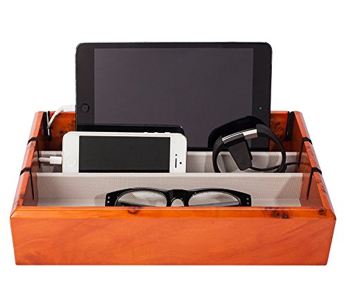 OYOBox Tech Tray Luxury Personal Electronics Organizer, Designer Lacquered Wood Stand Display Stores and Charges Multiple Devices Including: Tablets, iPhone + iPad and Smart Watches, Burl Wood