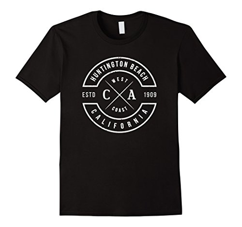 Mens Huntington Beach California T Shirt Vintage Emblem Souvenirs Medium Black (Beach Mens Vintage T-shirt)