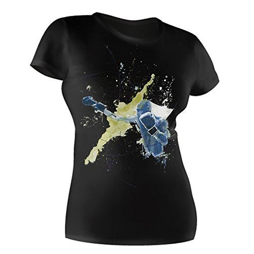 Boxen schwarzes modernes Damen / Frauen T-Shirt mit stylischen Aufdruck