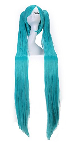 LOUISE MAELYS Straight Cosplay Wig Anime Costume Party Hair Long Clip on Ponytails Blue (Anime Costume Ideas)