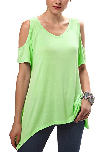 shirt Camicia off Tunica Donna Spalla Orlo Irregolare Caramella T Tops Urban Verde Moda Goco PaHqff