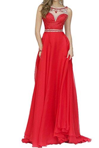 Charm Bridal Chiffon Beaded Long Junior Homecoming Summer Girl Dress Sleeveless -26W-Red by Charm Bridal