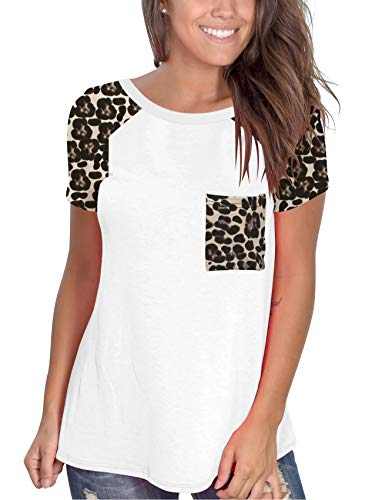 Topstype Womens Short Sleeve Tops Crew Neck Casual Leopard Shirts with Pocket Tee
