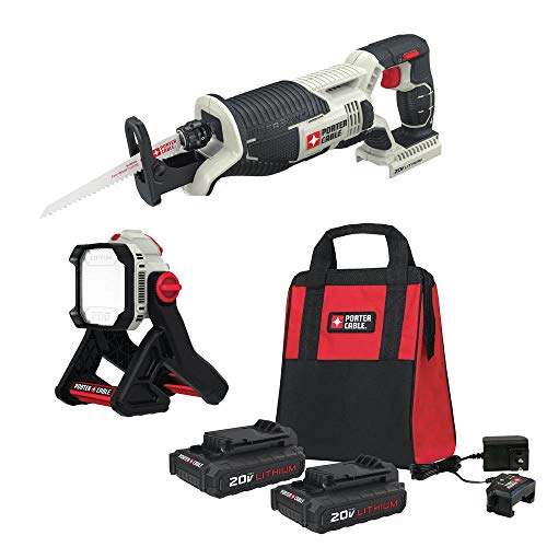 Porter-Cable PCC670B-888LB-500BBNDL 20V MAX Cordless Lithium-Ion Reciprocating Saw Kit with LED Light