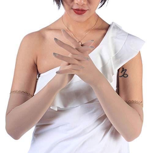 (ElsaYX Women's Sheer Seamless Pantyhose Nylon Evening Lace Gloves Beige One Size)