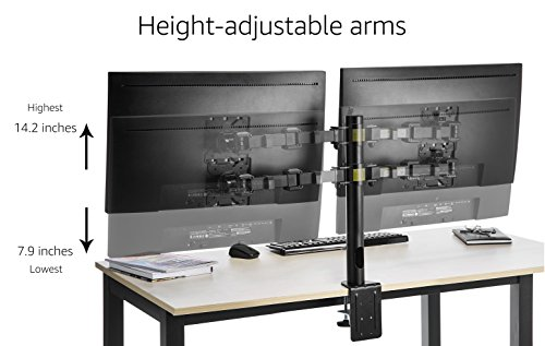 AmazonBasics Dual Monitor Stand - Height-Adjustable Arm Mount, Steel