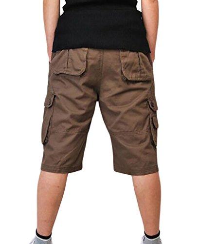 ZKOO Suelto Cortos Pantalones Cargo Hombre Bermuda Cortos con Multi-bolsillo Verano Outdoor Corto Pantalón Algodón Deporte Shorts Ocio Café