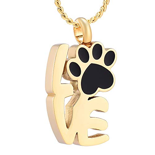 Imrsanl Love Shape Cremation Jewelry for Ashes Pet Paw Print Memorial Jewelry Stainless Steel Ashes Urn for Dog Cat Keepsake Necklace (Gold)