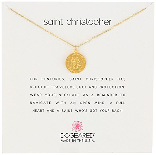 Dogeared Unisex Saint Christopher Travelers Reminder Necklace Gold Dipped One Size