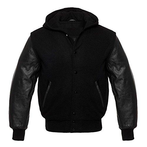 Varsity Letterman Wool and Genuine Leather Sleeves Solid Black Hoodie (XL, Solid Black)