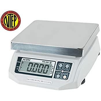 ACOM PW-200 Digital Portion Control Scale, Lb/Oz/Kg/g Switchable, Low Profile Design, 60lb Capacity, 0.02lb Readability, Single Display, NTEP Legal for ...
