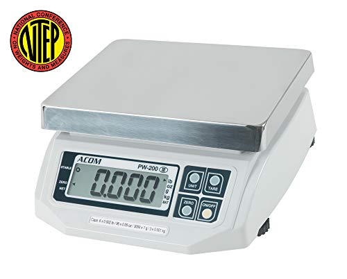 (ACOM PW-200 Digital Portion Control Scale, Lb/Oz/Kg/g Switchable, Low Profile Design, 30lb Capacity, 0.01lb Readability, Single Display, NTEP Legal for Trade)