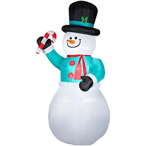 12' Airblown Inflatable Snowman with Candy Cane Holiday Yard Art