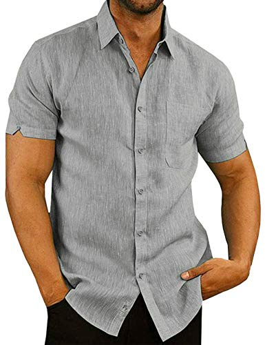 modase Mens Linen Henley Shirt Casual Short Sleeve T Shirt Pullovers Tees Retro Frog Button Linen Shirts Beach Tops Grey/XXL