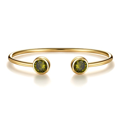 August Simulated Peridot Birthstone Cuff Bangle Bracelet Crystal Gold Plated Bangle Bar Birth Month Charm Anniversary Gifts For Her Birthday Gifts Birthday Gifts for Women Girlfriend Wife (Bracelet Ball Glitter)