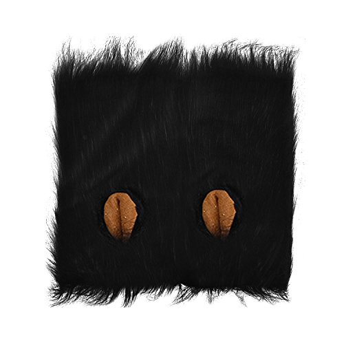 Gosear Pet Cat Dog Mane Hair Wig with Ears for Pet Dog Costume Halloween Party Dress up Black