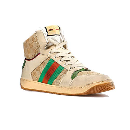 GUCCI Men's GG Screener Leather high-top Sneaker Shoes Beige