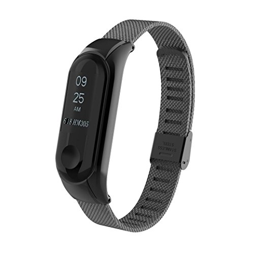 Price comparison product image Boofab Milanese Magnetic Loop Stainless Steel Watch Band Strap For Xiaomi Mi Band 3 (Black)