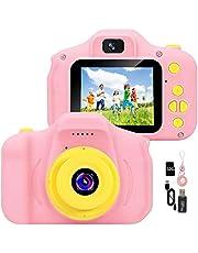 YunLone kinder camera 12MP Selfies digitale camera's voor kinderen,schokbestendige videocamera cadeaus voor jongens Meisjes, FHD-video 8X Zoom 2 inch voor buiten spelen (kaart van 32 GB inbegrepen)